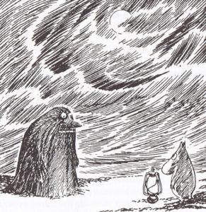 Moomin and the Groke. The Groke is scary, but likes lights. Possibly to get warm. Cos' she's always so cold. And scary... She can't get warm.