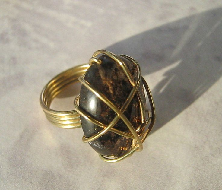 Ladies Ring Wire Wrapped Gold Tone Glass Stone Metal Size N 17mm Unique Gift | eBay