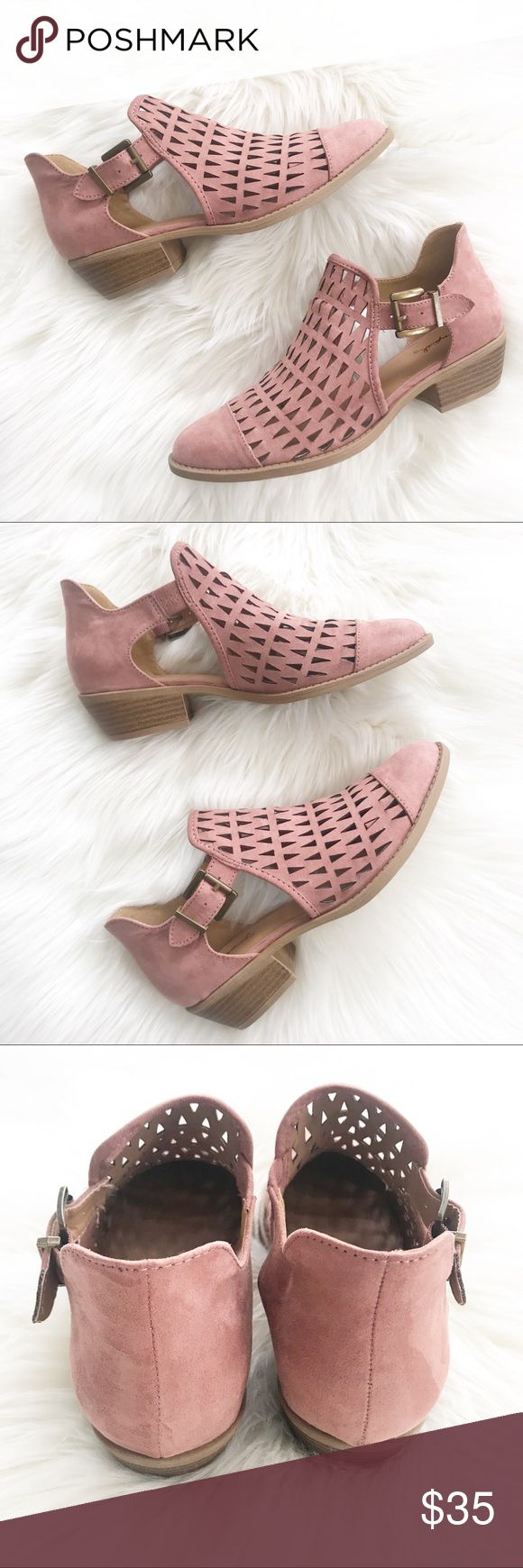 Chunky Heel Booties Size 7 Mauve Color Mauve Booties Size 7.  They run big.  They would fit a size 7..5 better.  Medium width.  Man made leather.  Chunky heel.  Only worn once inside the house. Qupid Shoes Ankle Boots & Booties