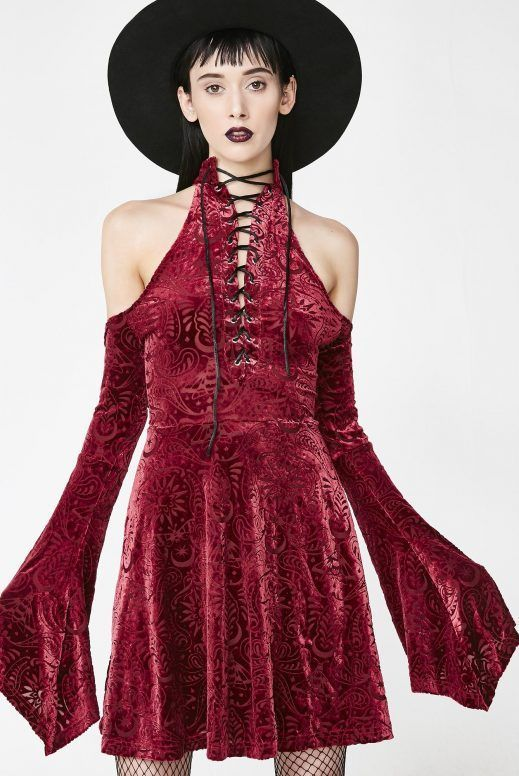 b3bd6b606a Killstar Wine Vela Burnout Velvet Dress  wicca  coven  dark  streetgoth   occult  darkaesthetic  witchcraft  nugoth  witches  gothgoth  gothfashion  ...