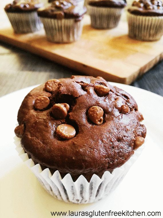 Gluten free double chocolate muffins -- A chocolate muffin that's super tender, moist and bursting with chocolate flavour. These Gluten Free Double Chocolate Muffins are everything!
