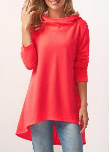 Asymmetric Hem Long Sleeve Pullover Hoodie on sale only US$32.75 now, buy cheap Asymmetric Hem Long Sleeve Pullover Hoodie at liligal.com