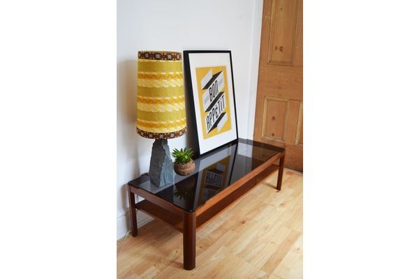Wooden Coffee Table /Smoked Glass /  Side Table Vintage / Retro 1960s 1970s |   #midcentury #modern #20thcentury