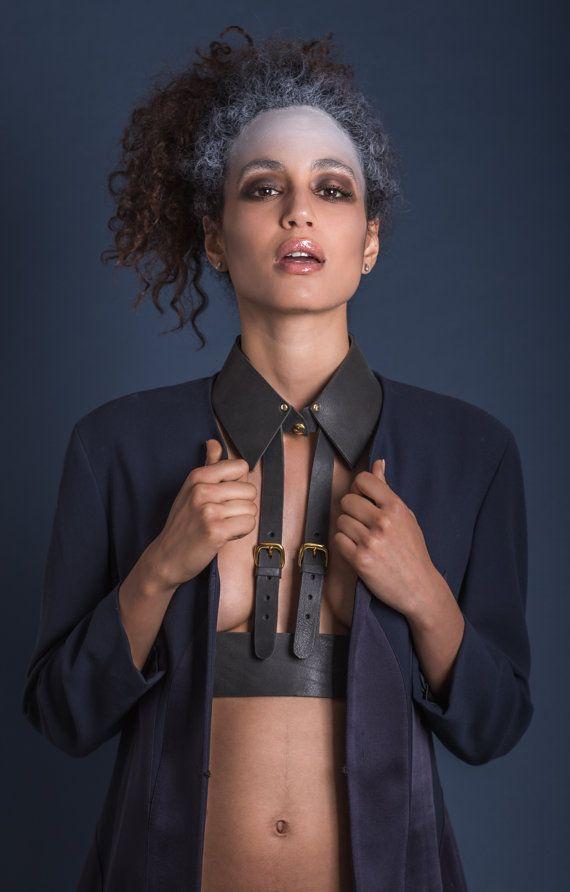 ABSIDEM charcoal body harness restraint genuine leather collar bdsm bondage made in Italy gold fetish slave lockable buckle designer