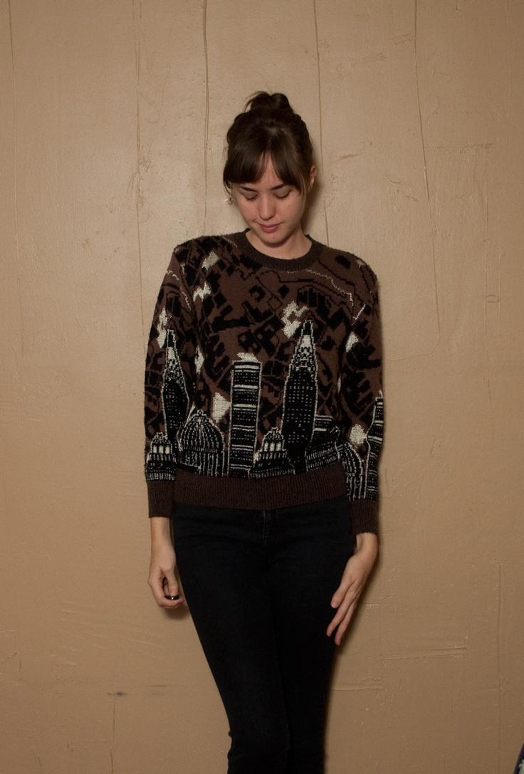 80s Skyline Sweater Small City Scape New York Black Brown. $22.00, via Etsy.