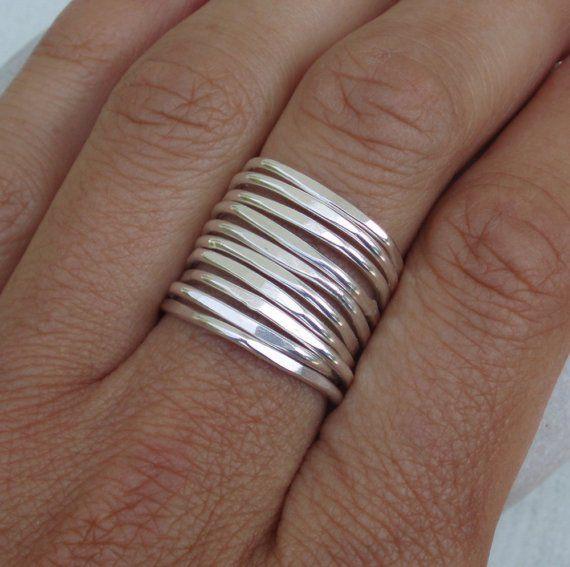 slim silver stacking rings