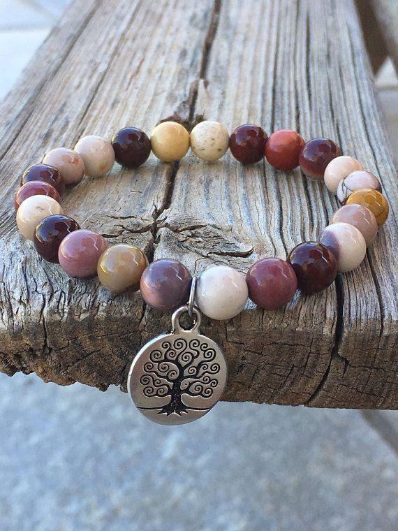 Mother Earth / Mookaite Jasper Beaded Bracelet with Tree of Life Charm