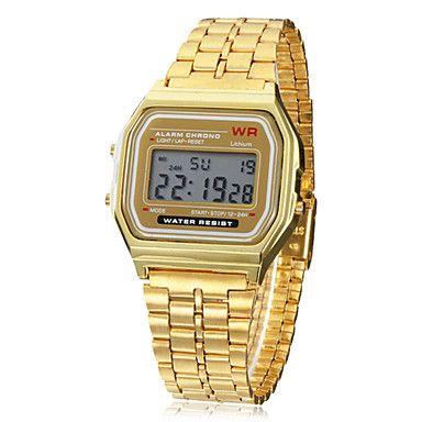 Herren+Armbanduhr+Digitaluhr+digital+LCD+Kalender+Chronograph+Alarm+Legierung+Band+Gold+Golden+–+EUR+€+3.83