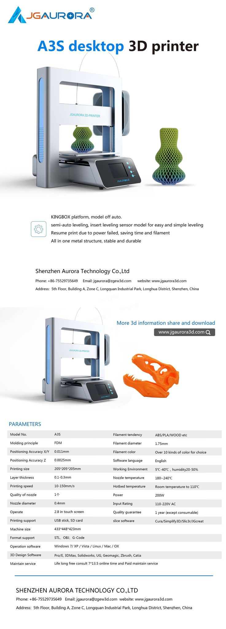 JGAURORA® A3S DIY 3D Printer Kit 205*205*205mm Printing Size Support Resume Print & Filament Run-Out Detection 1.75mm 0.4mm Nozzle