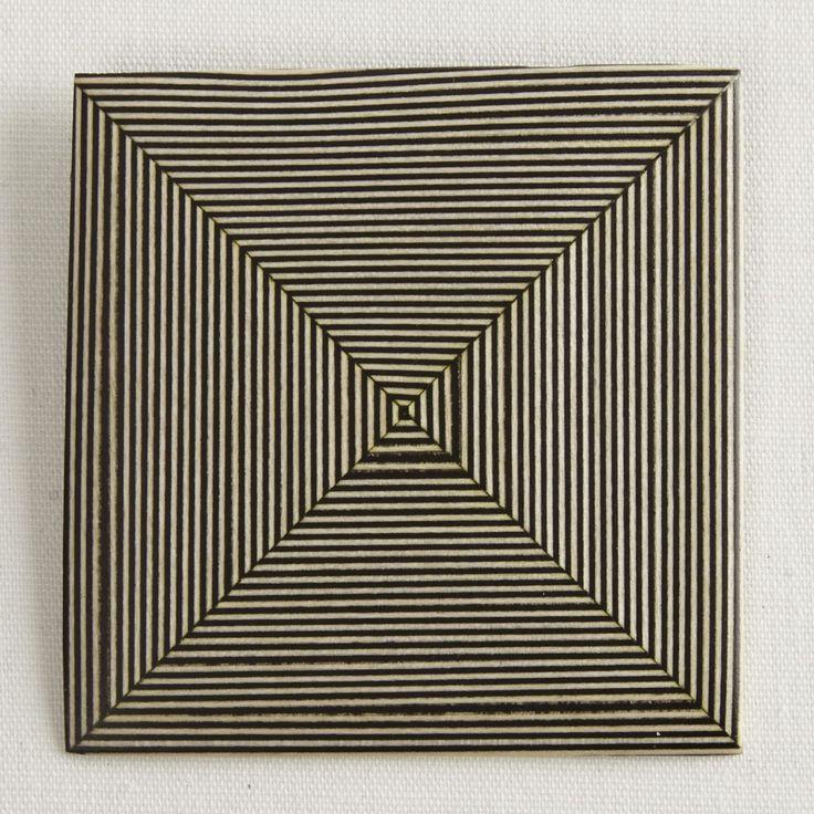 Darkroom Georges Larondelle Square Brooch - Striped Ebony & Holly