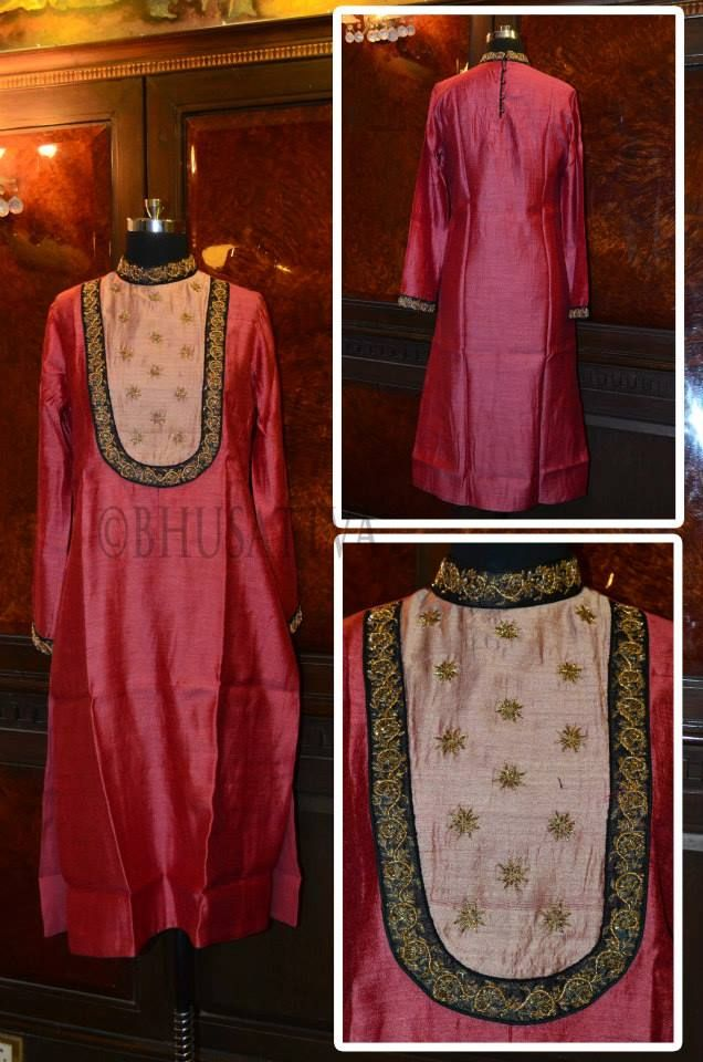 Certified #organic natural dyed women's long stand collared #kurta with hand embroidery on yoke, collar and sleeves #BhuSattva - True Essence of Earth (www.store.bhusattva.com)