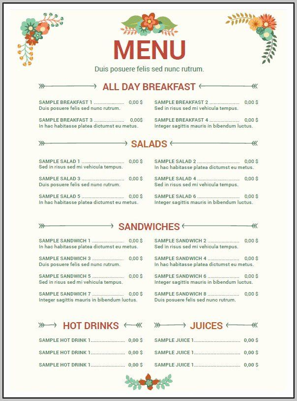 Free Menu Template For Word New Cafe Menu Templates Free Download Word Template Resume Menu Template Word Free Menu Templates Menu Template