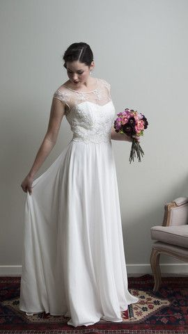 Meadow Dress with Alana Lace Bodice by Sophie Voon Bridal  Sophie Voon wedding dresses lovingly designed and crafted in our Wellington, New Zealand workroom.