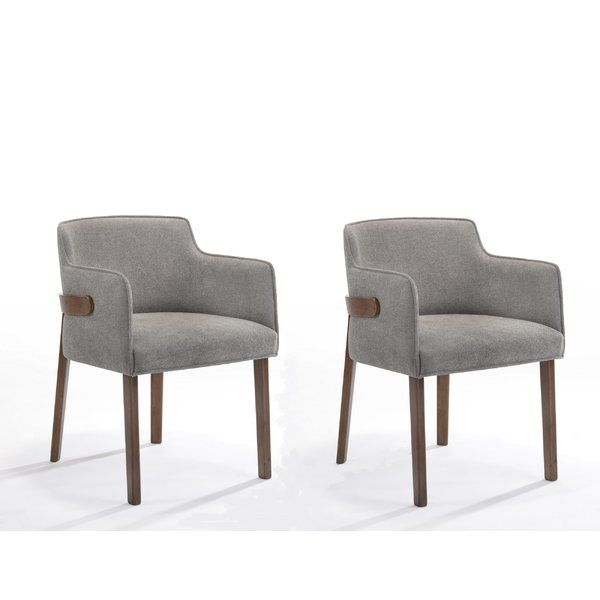 Mukai Upholstered Arm Chair In Gray Dining Chairs Outdoor