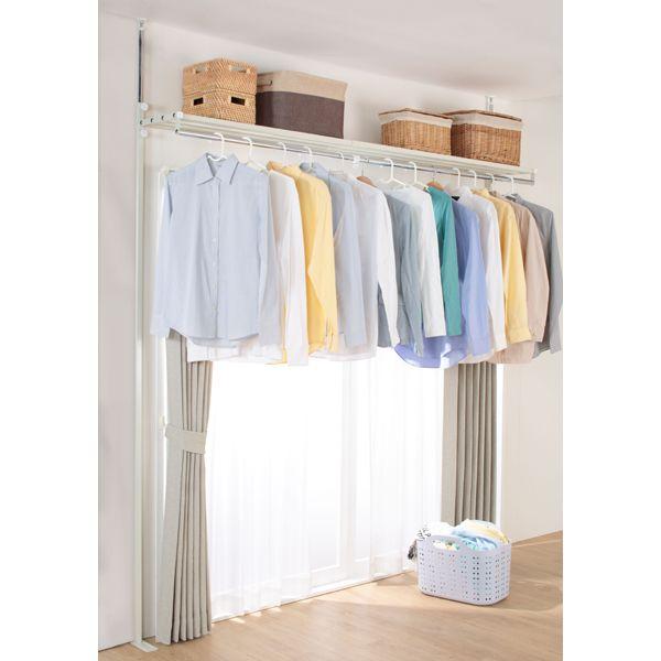 部屋干しや衣類収納にぴったり 突っ張りハンガー上棚付き ニトリ
