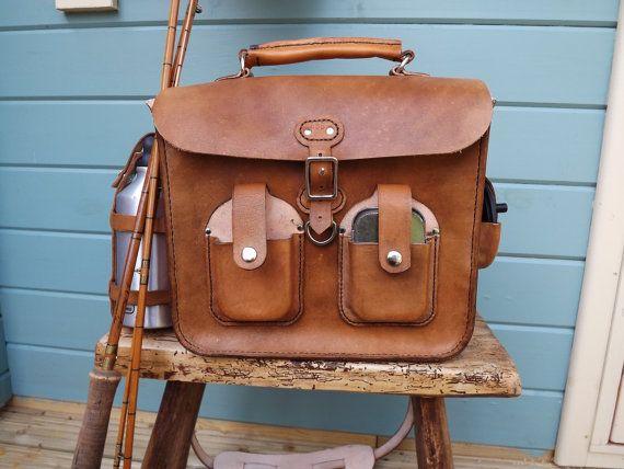 Handmade leather flyfishing bag fly fishing pinterest for Fly fishing bag