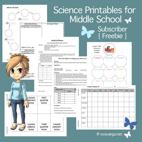 Free Science Printables for Middle School | Eva Varga