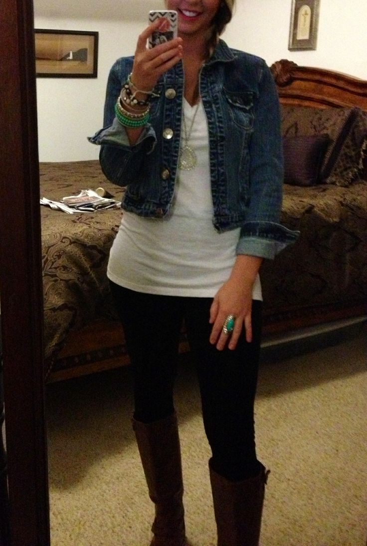 Easy go to outfit black leggings white t-shirt denim jacket paired with brown riding boots ...