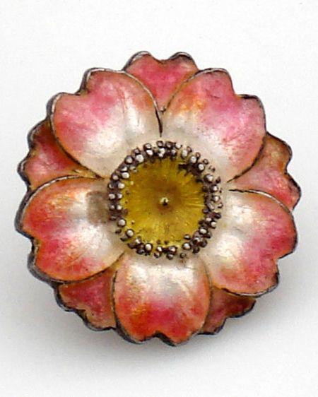 Rare, antique, Japanese, Art Nouveau, coral enamel button. The button is backed…