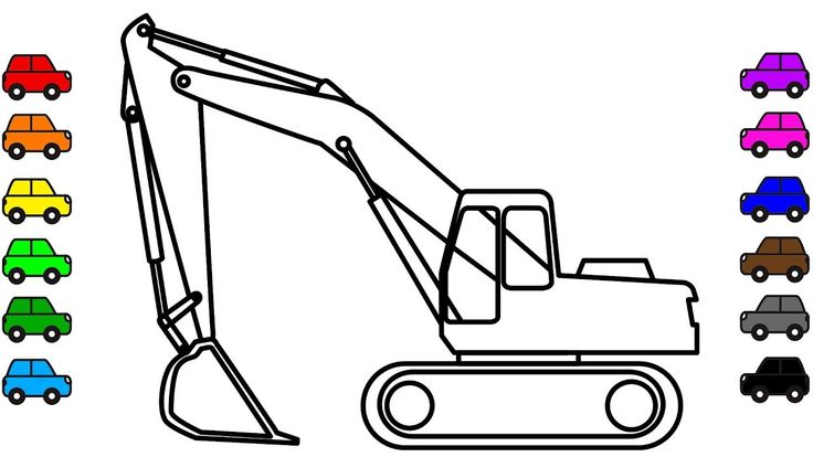Learn colors for kids with Excavator coloring pages, Construction truck ...