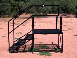 Equestrian Design Guidebook for Trails, Trailheads and Campgrounds ... www.fhwa.dot.gov   Figure 7-31--Riders may have trouble using this mounting block, because the handrails limit the maneuvering space