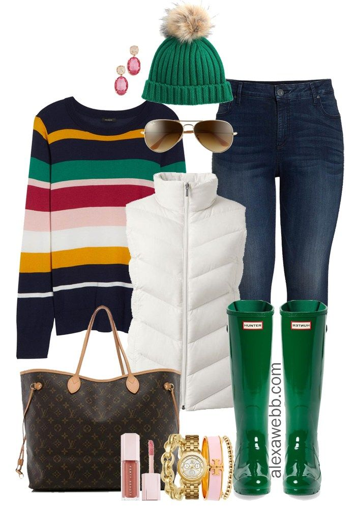 Plus Size gestreiften Pullover Outfit Ideen