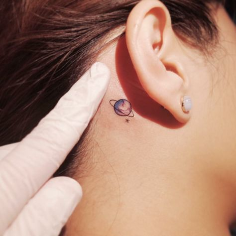 Best little tattoo motives for behind the ear for women planet colorful