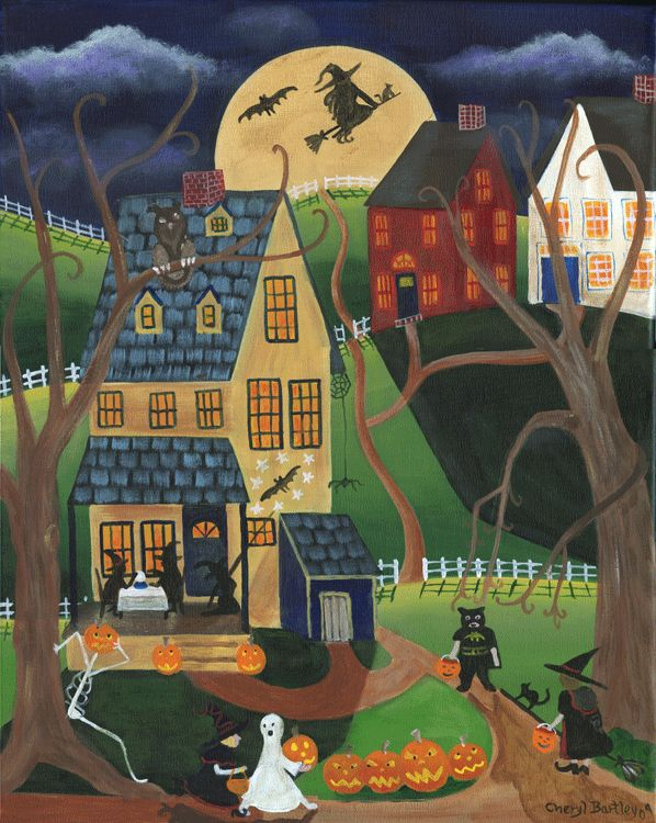 folk art halloween paintings | Halloween Custom Painting Warwick