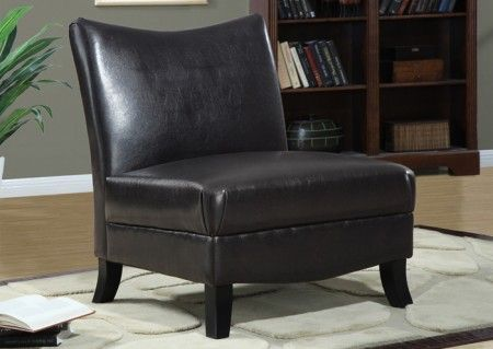 Monarch Specialties Dark Brown Leather Look Accent Chair