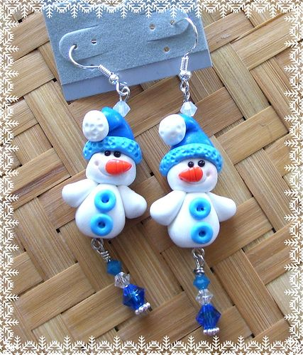 Polymer Clay * Snowmen in Blue earrings by Kellee's Beaded and Clay Creations, via Flickr