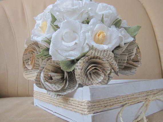 Bride Vintage Wedding Bouquet Old Love Book Paper by moniaflowers