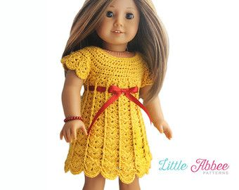 *This listing is for a Crochet Pattern* If you would like a beautiful and unique new dress for your doll, consider crocheting her a Sunrise Sunday Dress! You can also crochet a really cute Peplum style top using this pattern. This pattern features a square neck and short sleeves. It uses a very unique style stitch that gives the dress a fun wavy texture. The dress/top is crocheted from the top down with the trim and the back closure added after the body is crocheted. You can choose to c...