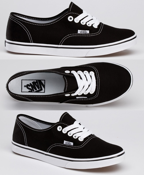 Black vans with white laces. I need a new pair of casual tennis shoes. My ku blue pumas have holes!