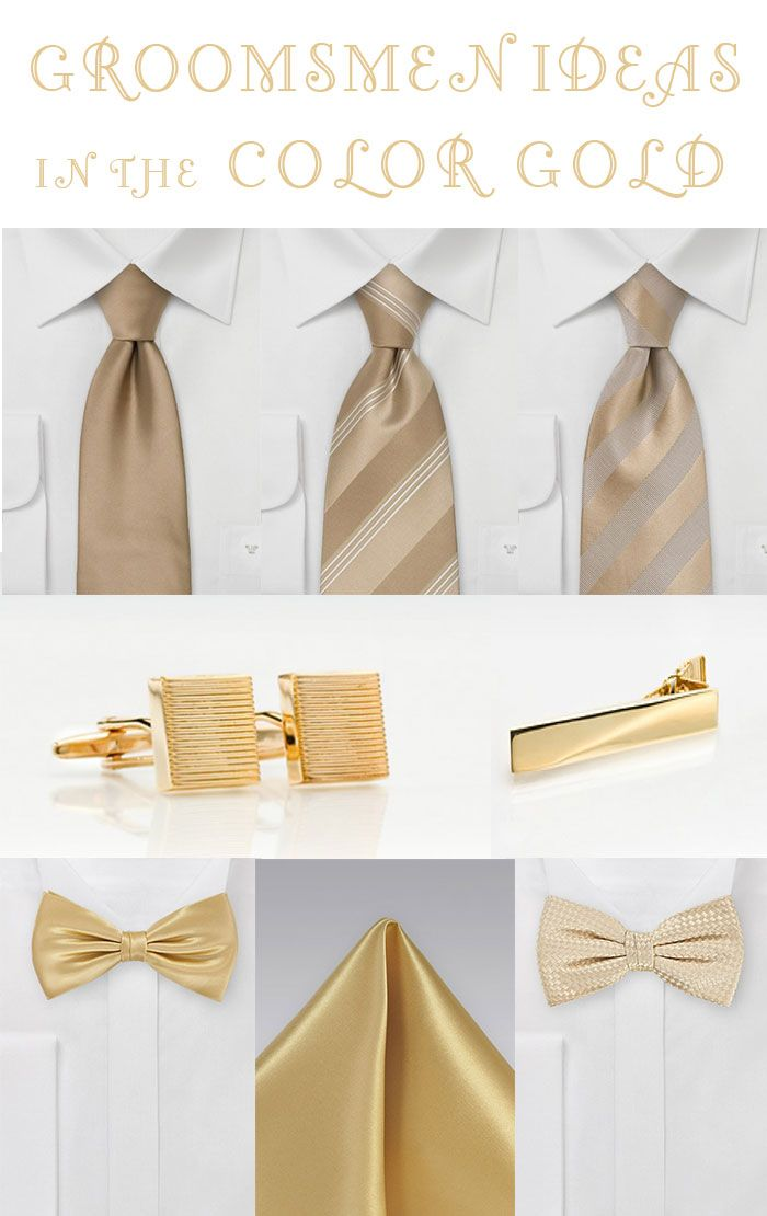 Love the idea of the groom and groomsmen having mismatching golden ties, like the bridgemaids have mismatched golden dresses. A collection of gold hued menswear accessories perfect for any wedding.