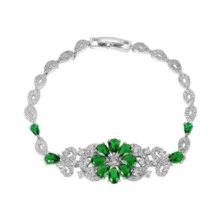 *Free shipping worldwide* This silver tone bracelet has been set with synthetic emerald as a daisy flower and fitted with distinctive art deco bracelet with a touch of vintage. | bridal bracelet | wedding bracelet | bridesmaid bracelet | prom bracelet | silver bracelet | emerald green bracelet | bridal jewelry | wedding jewelry | prom jewelry | bridal jewellery | wedding jewellery | prom jewellery