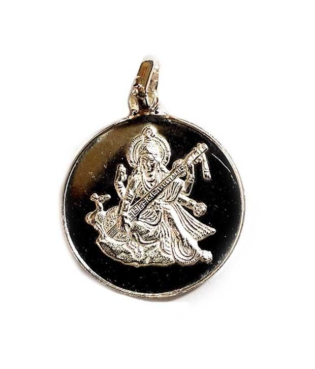 Traditional Saraswati Yantra Pendant Pure Silver Energized and Blessed Locket