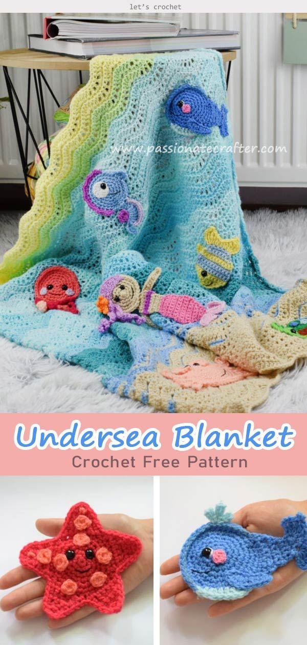 Undersea Sweetness Appliques Baby Blanket Crochet Free Pattern Crochet Applique Patterns Free Crochet Patterns Free Blanket Baby Blanket Crochet