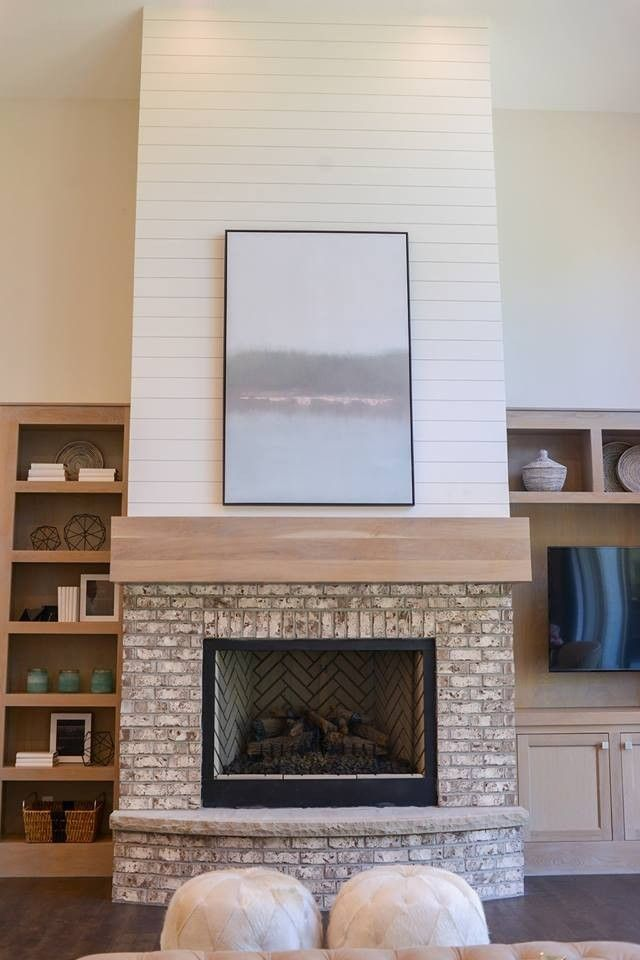 Utah Valley Parade Of Homes 2016 White Washed Look Thin Brick Fireplace Shiplap