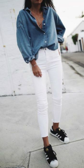 Andy + skinny white jeans + oversized 'boyfriend' fit denim shirt + simplistic gold jewellery + monochrome Adidas sneakers   Shirt/Jeans: Topshop, Sneakers: Adidas.