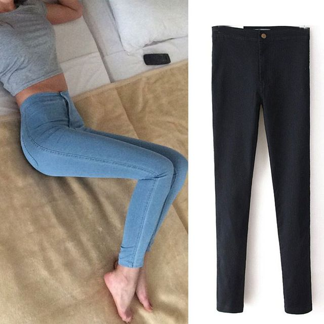 2016 Moda de cintura alta Mujeres jeans Stretch Skinny jeans Mujer pantalones Lápiz delgado de alta calidad de Mezclilla negro pantalones C0455
