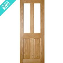 Deanta Bury Pre-Finished Internal Oak Door with Clear Bevelled Glass