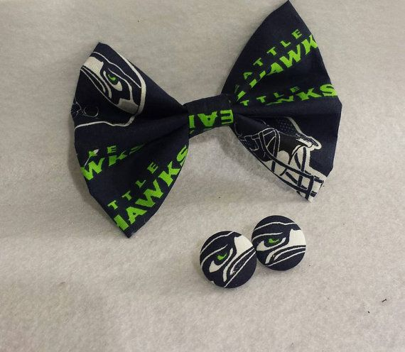 Seahawks Accessories - Seahawks Bow - Seahawks earrings - NFL team wear - nfl accessories - bow for hair - nfl bow ties - bow ties for sale