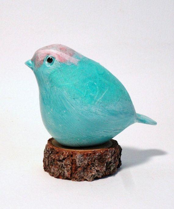 clay bird aqua pink SALE by ecorock on Etsy