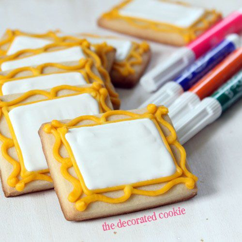 canvas cookies and food pens, art party favors