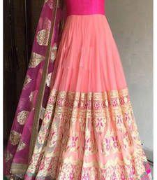 Buy Pink embroidered net semi stitched salwar bollywood-salwar-kameez-online online