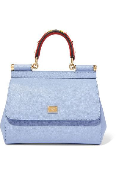 Dolce & Gabbana - Sicily Small Embellished Textured-leather Tote - Light blue - one size