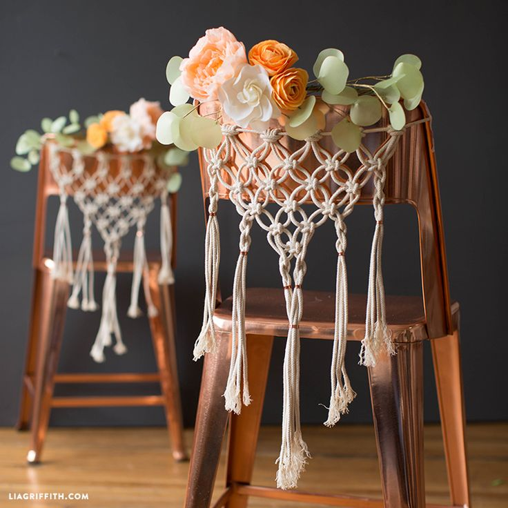 Here is our take on gorgeous macrame chair decor, perfect for memorable and unique DIY wedding chairs. Once you are done tying the weavings, you can ...