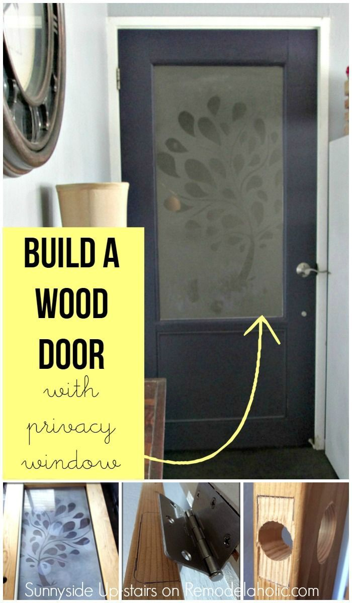 Build a wood door from scratch, with a frosted glass pane. Also info about installing hinges and knob hardware.