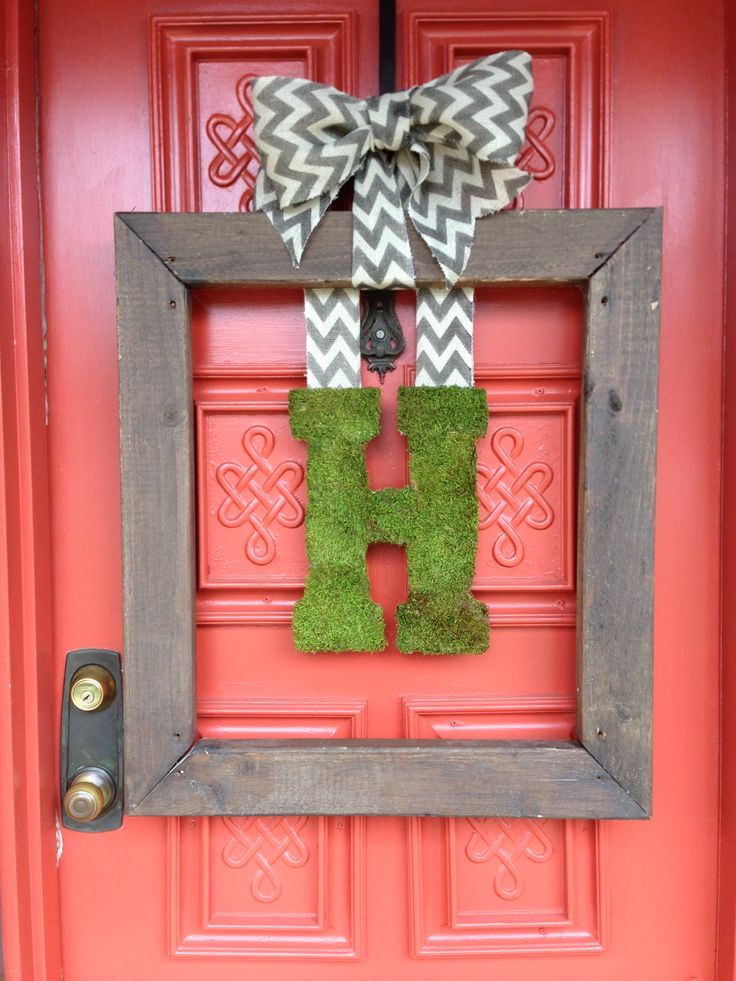 wood frame wreath  burlap chevron ribbon  moss covered letter h