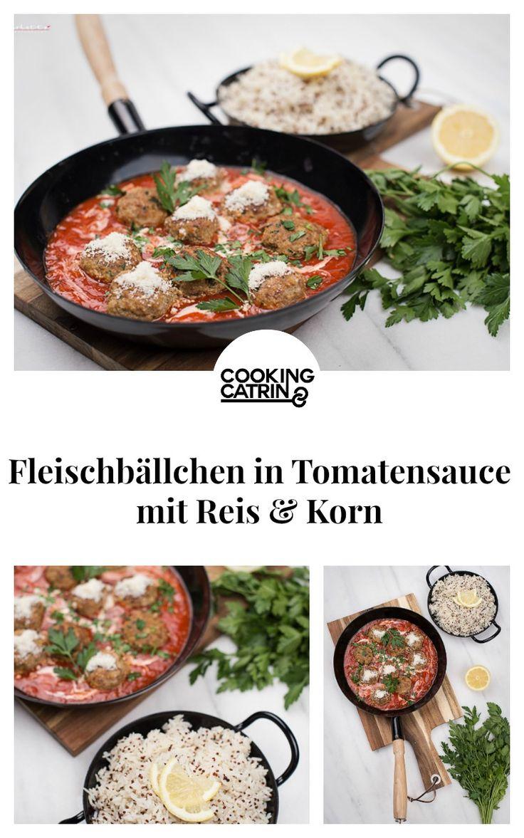 fleischbällchen, hackfleisch, meat. fleisch, meatballs, reis, rice, korn, grains, tomatensauce, sauce, tomate, tomatoe, tomatoe sauce